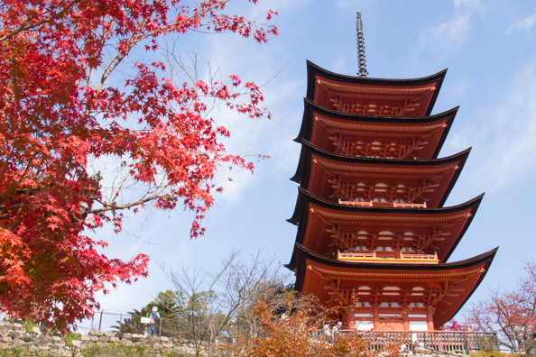 Five-storied Pagoda on Miyajima Island, Hiroshima in Japan