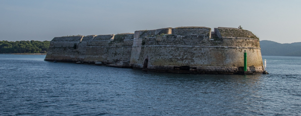 Fortress of Saint Nicholas at the entrance to Saint Anthony's Channel in Šibenik in the Dalmatia region of Croatia