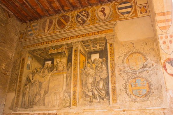 Frescoes in Palazzo Comunale in San Gimignano, Tuscany Italy