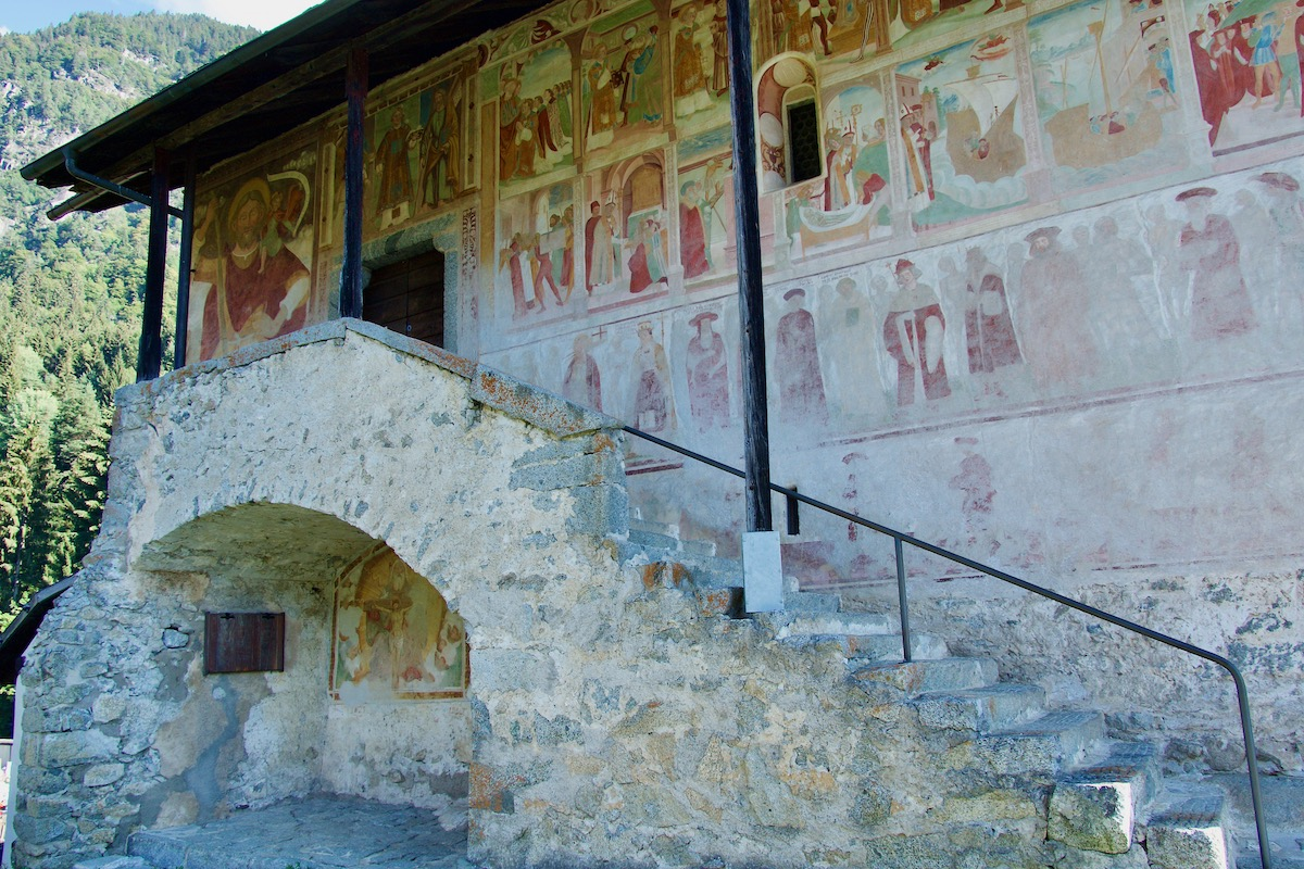 Frescoes on the Church of San Stefano in Carisolo, Italy