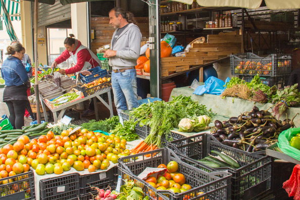 Fruit and vegetable market in old Corfu Town