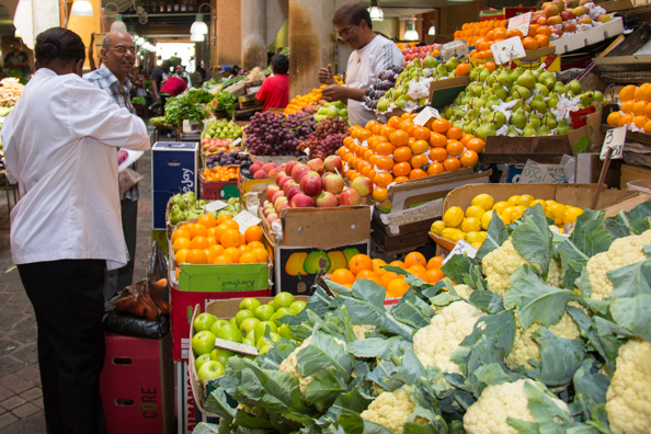 Fruit and vegetable stalls in the Central Market of Port Louis on Mauritius