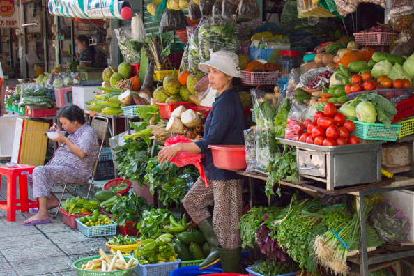 Fruit and vegetable stall outside Ben Thanh Market in Ho Chi Minh City in Vietnam