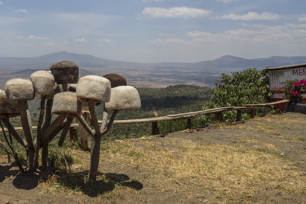 Fur hats for sale on the escarpment of the Rift Valley in Kenya 3010276