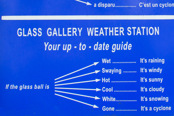 Glass ball weather station at Mauritius Glass Gallery