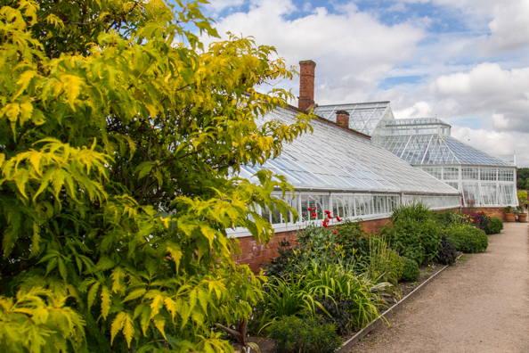 Greenhouses in the Walled Kitchen Garden of Clumber Park near Ollerton, Notts, UK
