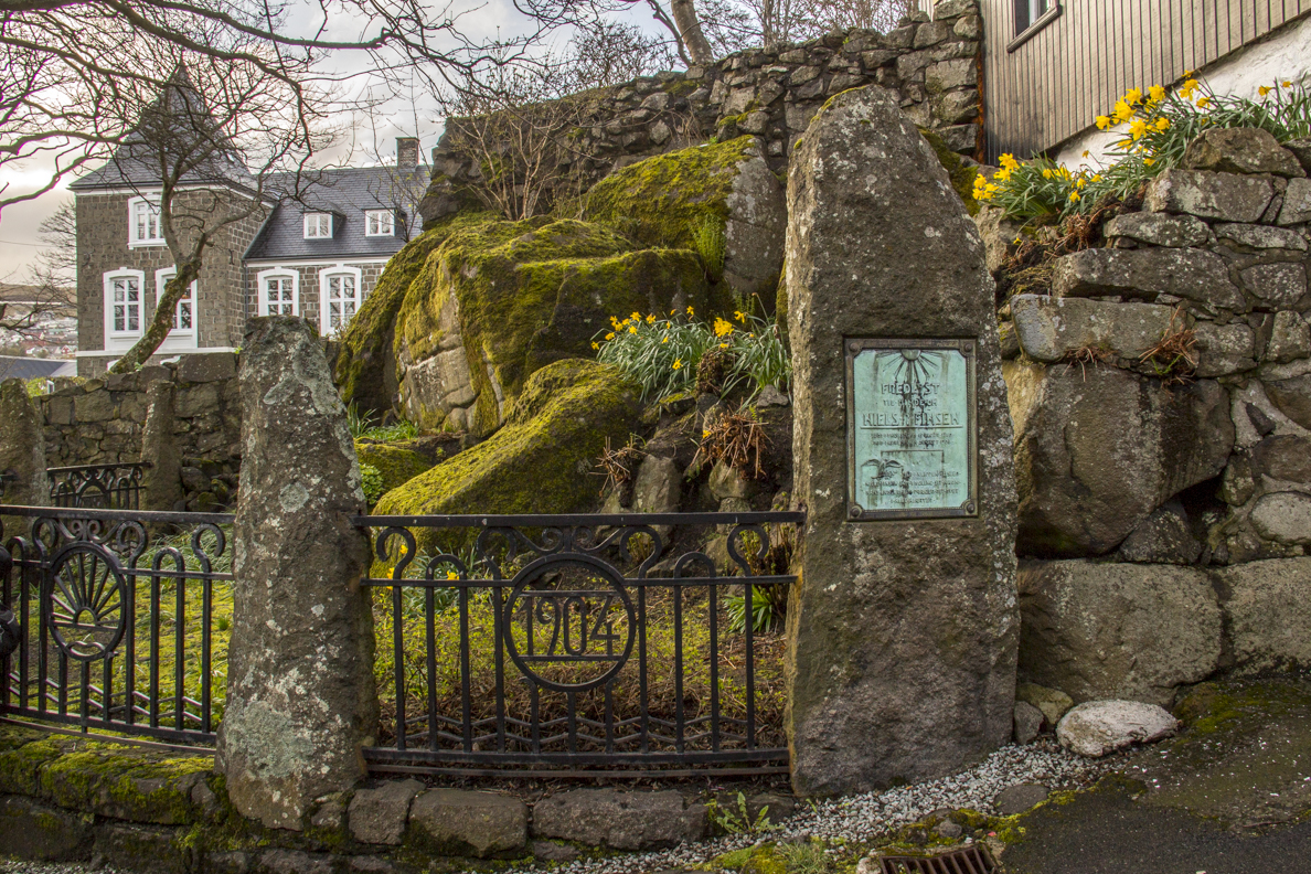 Grotto and plaque in front of the Governeor's House in Tórshavn capital of the Faroe Islands7333