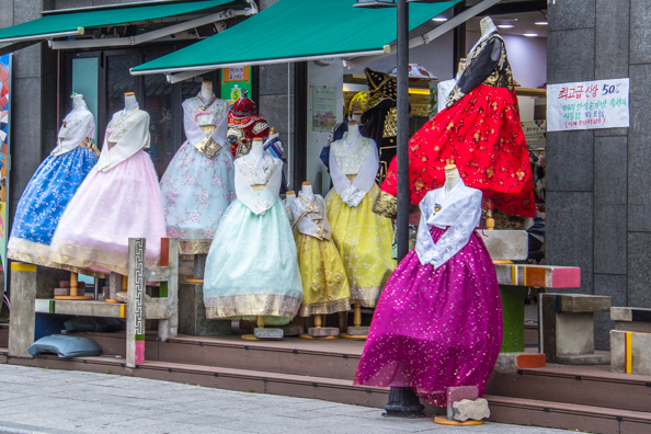 Hanboks for hire in Jeonju in South Korea
