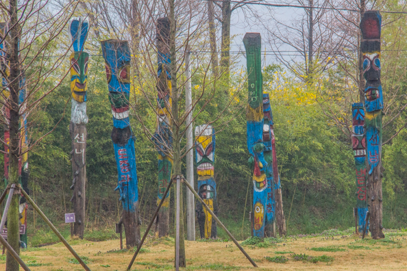 Hanging totem poles on the Avenue of Metasequoia trees  in Damyang, South Korea