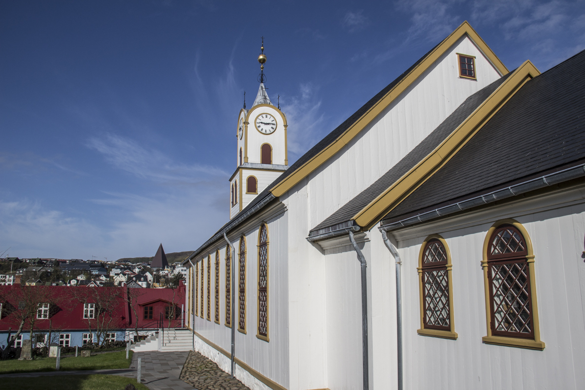 Havnar Kirkja, the cathedral, above Tórshavn capital of the Faroe Islands  7708