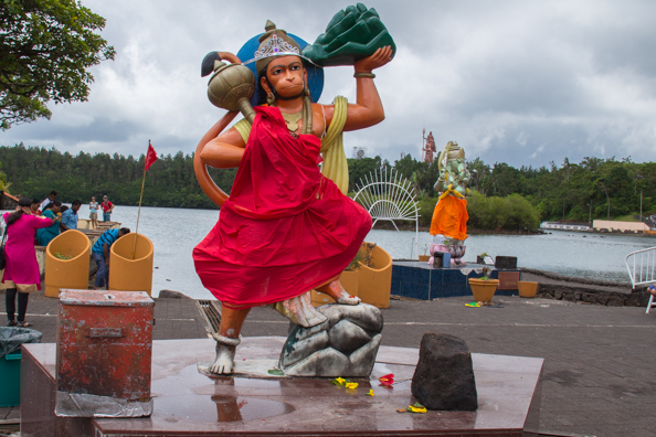 Hindu gods on the shore of the Grande Bassin or Sacred Lake on Mauritius
