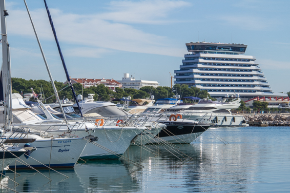 Hotel Olympia Sky in the background, marina in the foreground in Vodice in Croatia