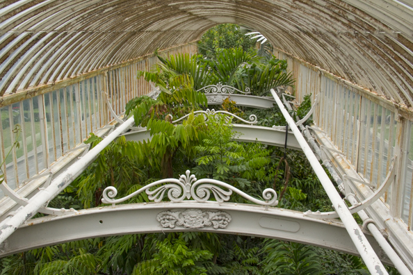 In the roof of the Palm House at Kew Gardens in London