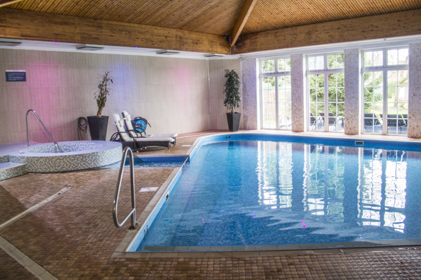 Indoor swimming pool and Jacuzzi at the Balmer Lawn Hotel, Brockenhurst, New Forest in England