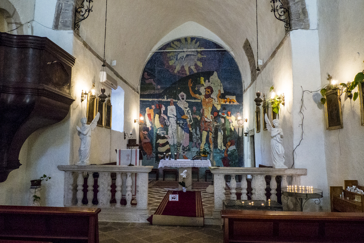 Inside the Chruch of Saint John in the Old Town of Budva in Montenegro