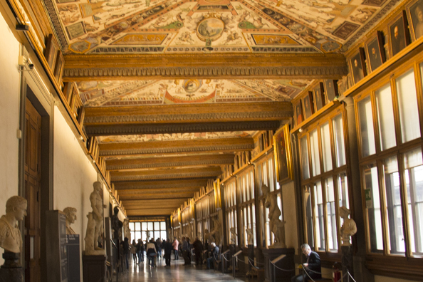 Inside the Uffizi Galleries in Florence, Tuscany, Italy