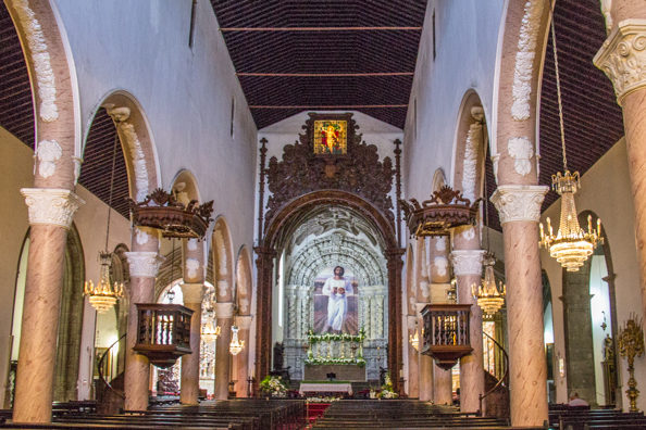 Interior of Saint Sebastian's Church in Ponta Delgada on the Island of São Miguel in the Azores
