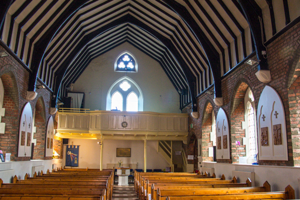 Interior of the Church of Our Lady of Mercy and St Joseph in Lymington, New Forest, Hampshire, UK