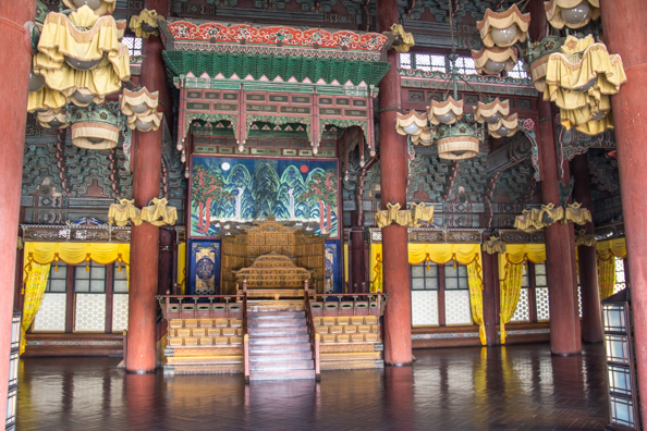 Interior of the Injeongjeon Hall at Changdeokgung Palace in Seoul, South Korea
