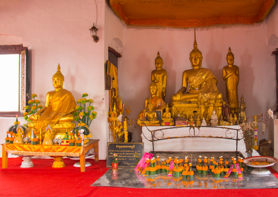 Interior of the temple at the top of Mount Phousi in Luang Prabang, Laos
