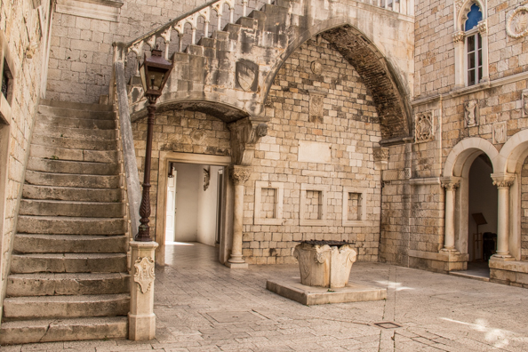 Internal courtyard of City Hall in Trogir, Croatia