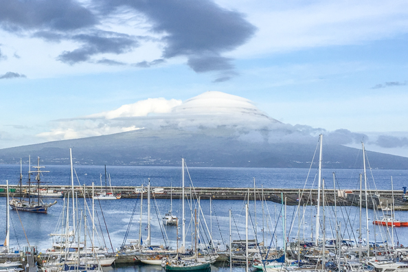 Island of Pico from Horta harbour on Faial Island in the Azores