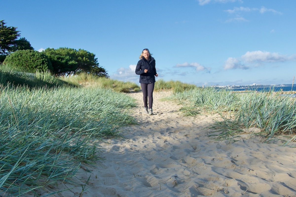 Jogging Through the Dunes in Maier Tights and Jacket