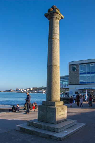 John Mowlem monument on the seafront at Swanage in Dorset, UK