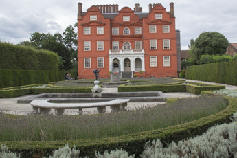 Kew Palace and the parterre in the Queen's Gardens at Kew Gardens in London