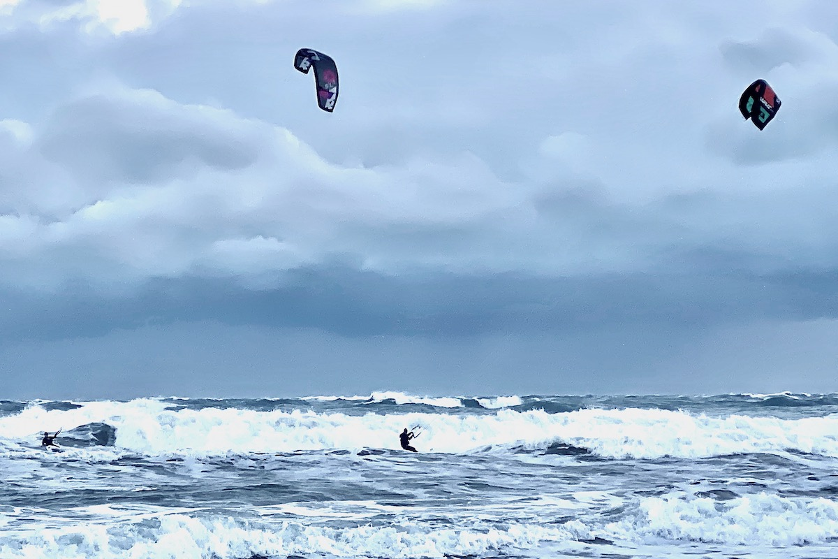 Kite Boarders Battle Wind and Waves off Sandbanks Beach, Dorset