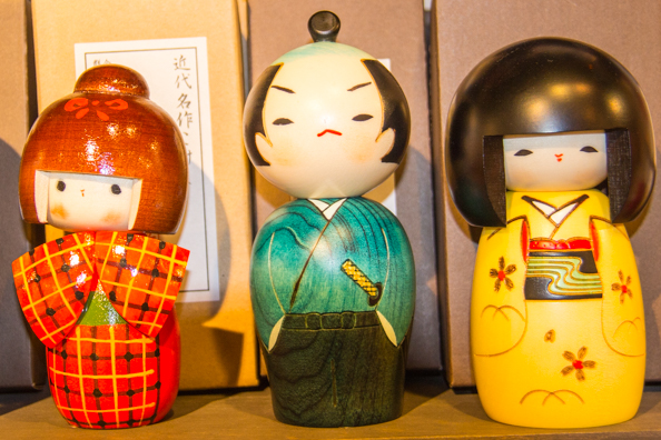 Kokeshi dolls in Arashiyama, Japan