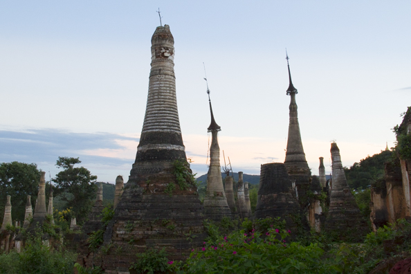The ruins of the pagodas at Nyaung Ohak in Myanmar