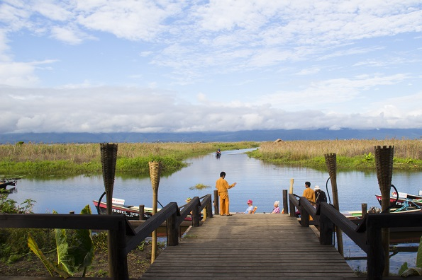 Then jetty of Amata Garden Hotel on Lake Inle in Myanmar