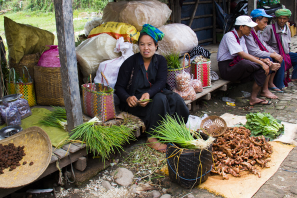 Vegetable stall in Nampan local market on Lake Inle n Myanmar