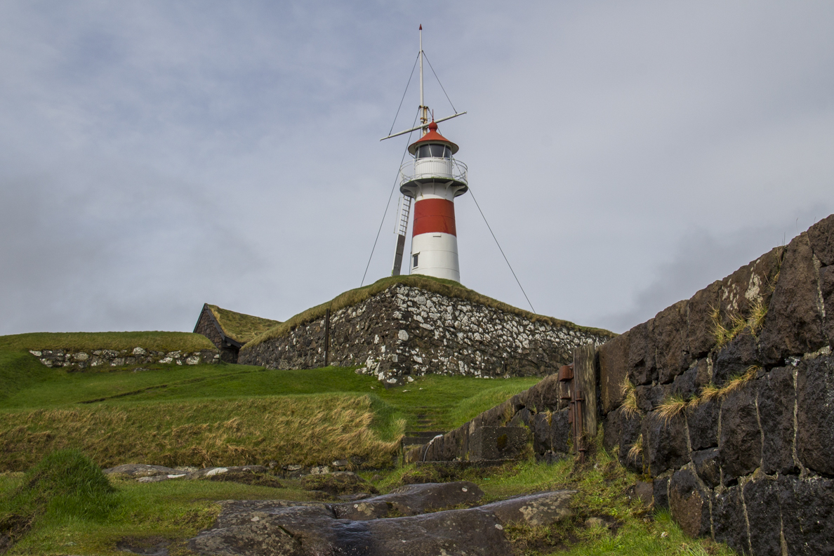 Lighthouse on the remains of the old fort in Tórshavn capital of the Faroe Islands  7202