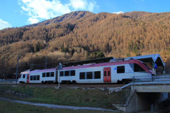 The Dolomite Express arrives in Dimaro, Trentino, Italy