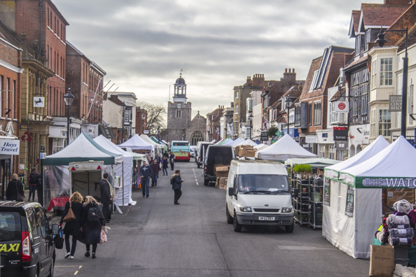 Market day on the High Street in Lymington