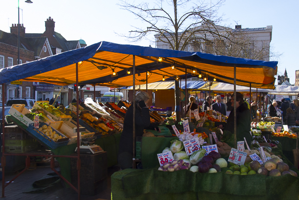 Market stalls in front of the old town hall in St Albans