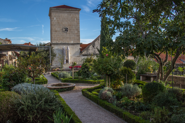 Medieval Mediterranean Monastery Garden in Šibenik in the Dalmatia region of Croatia