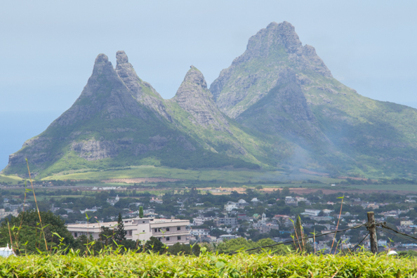 Montagne du Rempart and the summit of St. Pierre Mauritius from the Trou aux Cerfs volcano on Mauritius