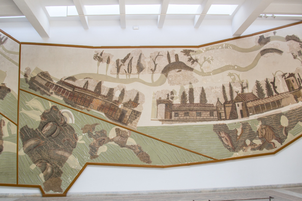 Mosaic of Romans at the seaside in the Bardo Palace in Tunis, Tunisia