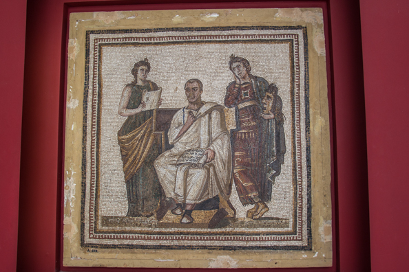 Mosaic portrait of Virgil, Roman poet in the Bardo Museum in Tunis, Tunisia