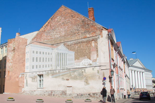 Mural of the Main Building of the University in Tartu, Estonia