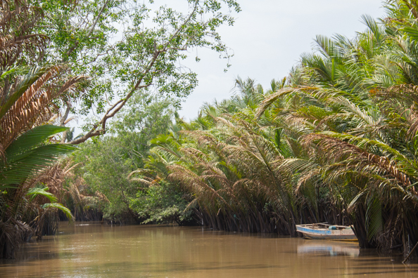 Negotiating a channel in the Mekong Delta, Vietnam