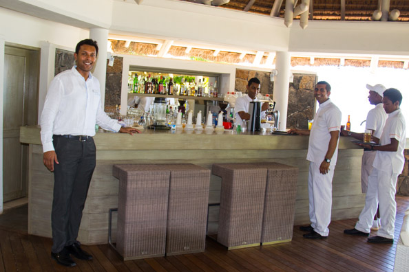 Nishal, Food and Beverages Manager, in the bar at the Playa beach restaurant at the Tamassa hotel, Bel Ombre on Mauritius