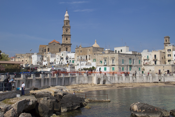 Old town of Monopoli in Puglia from Cala Porto Vecchio on its coastline