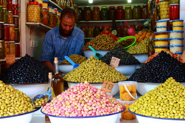 Olives for sale in the souk in Marrakech