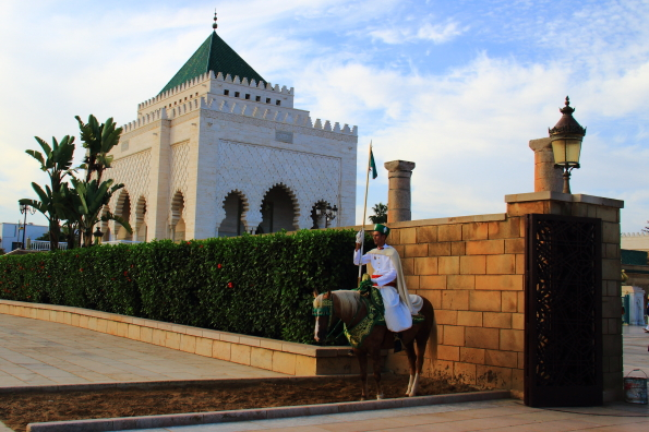 On guard at the entrance to the Mausoleum of Mohamed V in Rabat Morocco