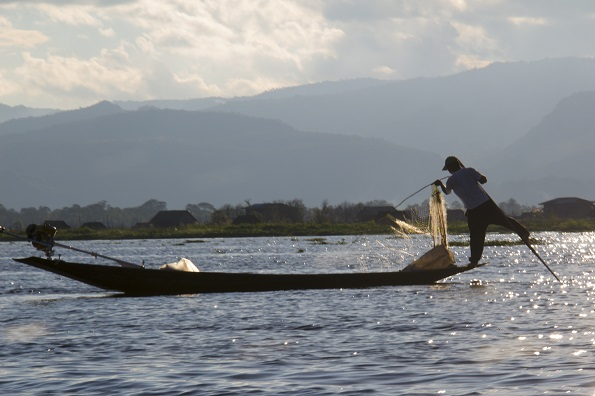 One-legged rower on Lake Inle Myanmar