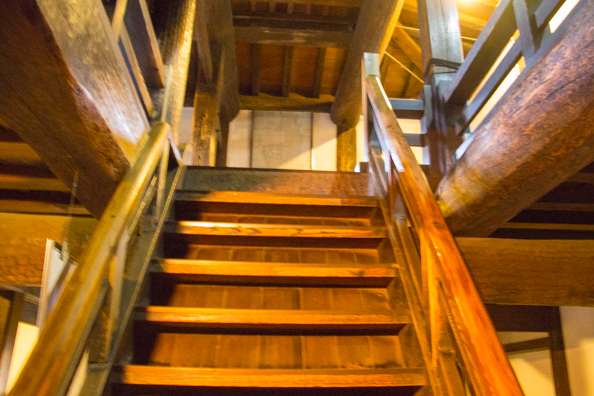 One of many staircases inside Matsumoto Castle in Matsumoto, Japan